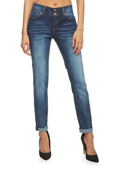 WAX Double Button Straight Leg Cuffed Jeans - 1074071610050