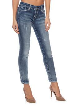 WAX Fringed Cuffs Skinny Jeans - 1074071610053