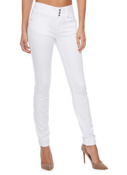 WAX 3 Buttons High-Waisted Skinny Jeans - 1074071610057