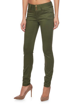 WAX 3 Buttons High-Waisted Skinny Jeans - OLIVE - 1074071610057