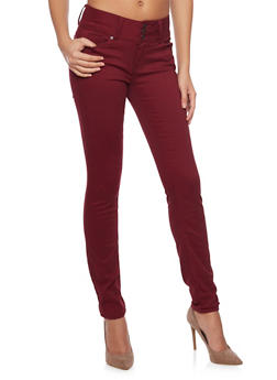 WAX 3 Buttons High-Waisted Skinny Jeans - BURGUNDY - 1074071610057