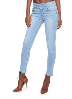 WAX Faded Double Button Skinny Jeans - 1074071610065