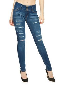 WAX Triple Button Slashed Denim Skinny Jeans - 1074071610067