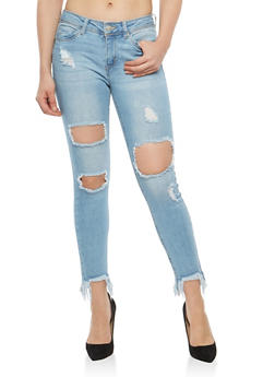 WAX Frayed Hem Destruction Jeans - 1074071610089