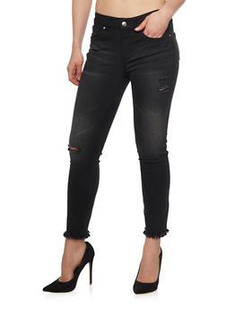 WAX Distressed Faded Frayed Hem Jeans - 1074071610947