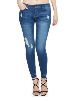 WAX Distressed Skinny Jeans with Released Hem - 1074071610949
