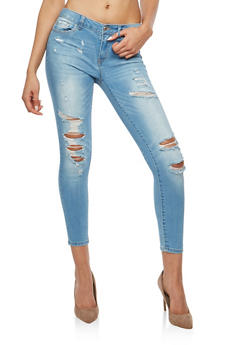 WAX Distressed Push Up Skinny Jeans - 1074071610993
