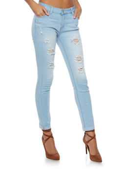 WAX Cuffed Skinny Jeans with Distressing - 1074071613301