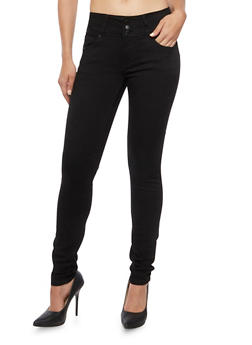Wax Skinny Jeans with Three Buttons - 1074071613401