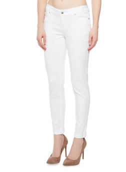 WAX Dyed Skinny Jeans with Rolled Cuffs - WHITE - 1074071614009