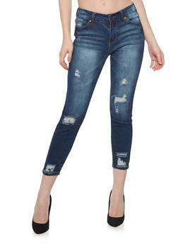 WAX 5 Pocket Distressed Cropped Skinny Jeans - 1074071619006