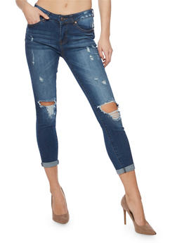 WAX Destroyed Knee Cropped Denim Jeans - 1074071619007