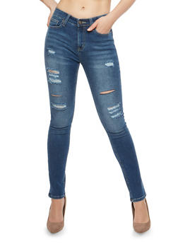 WAX Medium Wash Distressed Skinny Jeans - 1074071619027