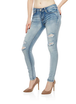 WAX Distressed Ripped Skinny Jeans - 1074071619046