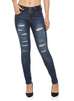 WAX Distressed High Waisted Skinny Jeans - 1074071619067