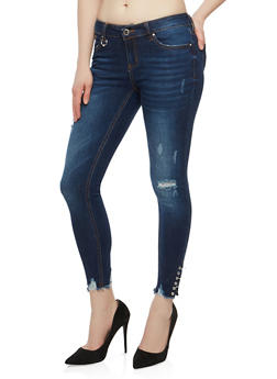 WAX Distressed Jeans with Metallic Ring Detail - 1074071619114