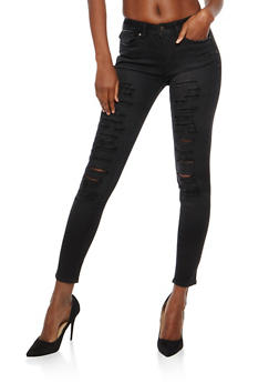WAX Destruction Black Skinny Jeans - 1074071619771