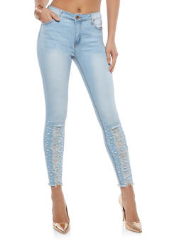 Faux Pearl Accented Skinny Jeans - 1074072290001