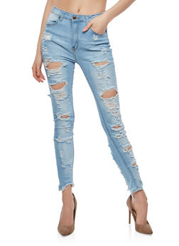 Destroyed High Waisted Skinny Jeans - 1074072290430