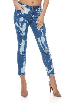 Distressed Bleach Splatter Skinny Jeans - 1074072290433