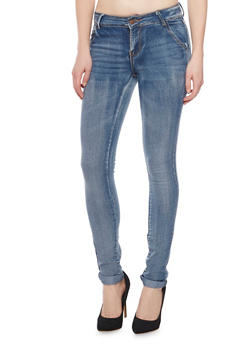 Faded Skinny Jeans with Five Pocket Style - 1074072291321