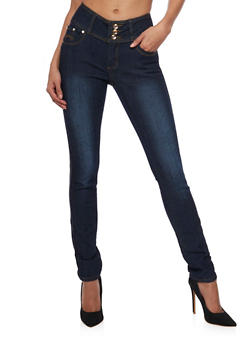 Skinny Jeans with 3 Button High Waist - 1074072291371