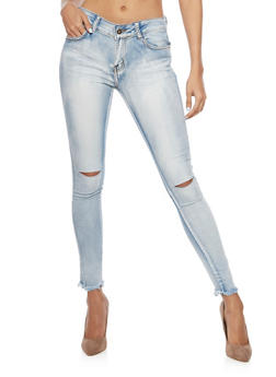 Distressed Skinny Jeans with Frayed Hems - 1074072292661