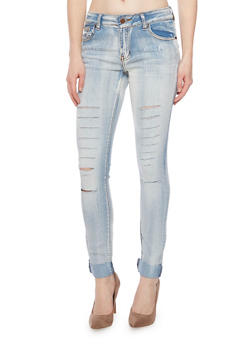 Slashed Skinny Jeans with Rolled Cuffs - 1074072293061