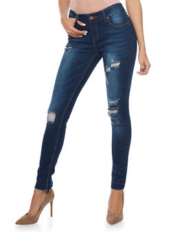 Distressed Skinny Jeans with Frayed Hems - 1074072293131