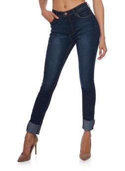 Frayed Hem Skinny Jeans - 1074072293251