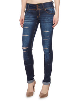 Slashed Skinny Jeans with 3 Button High Waist - 1074072293271