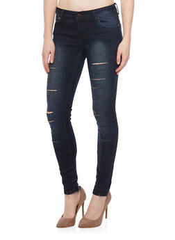 Slashed Faded Skinny Jeans - 1074072293381