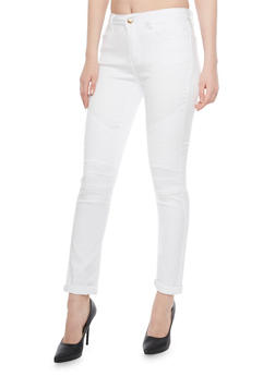 Moto Skinny Jeans with 5 Pocket Design - 1074072293601
