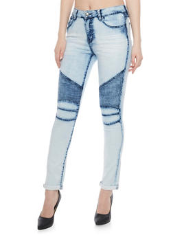 Moto Skinny Jeans with 5 Pocket Design - LIGHT MARBLE - 1074072293601