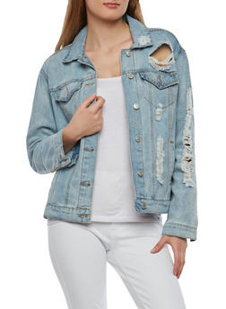 Almost Famous Destroyed Denim Jacket - 1075015990030
