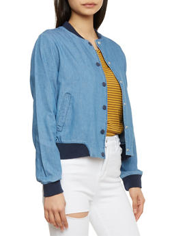Almost Famous Chambray  Bomber Jacket - 1075015995015