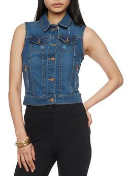 Sleeveless Denim Button Up Vest - MEDIUM WASH - 1075051061024