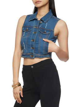 Cropped Button Up Denim Vest - 1075051061025