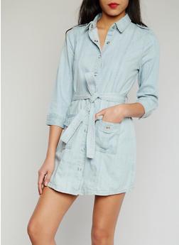 Belted Cargo Denim Shirt Dress with Tie Belt - 1075051068637