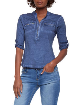 Zip Front Denim Knit Shirt with Tab Sleeves - 1075051068658