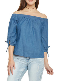 Off The Shoulder Chambray Top with Three Quarter Tie Sleeve - 1075051069109