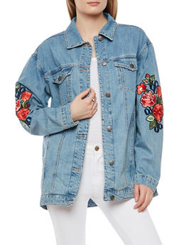 Cello Rose Patch Oversized Denim Jacket - 1075063150109