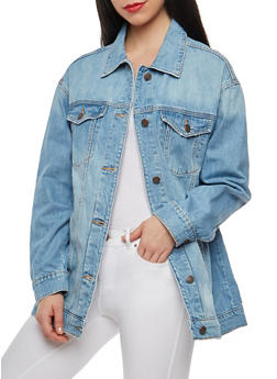 Cello Embroidered Oversized Denim Jacket - 1075063151056
