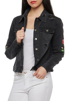 Cello Distressed Floral Patch Denim Jacket - 1075063151070