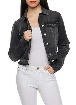 Cello Black Cropped Jean Jacket - 1075063151077