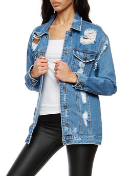 Cello Oversized Destroyed Denim Jacket - 1075063151098