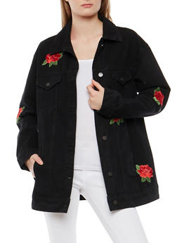 Cello Rose Embroidered Oversized Denim Jacket - 1075063151103