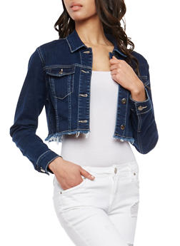 Cello Frayed Hem Cropped Jean Jacket - 1075063151142