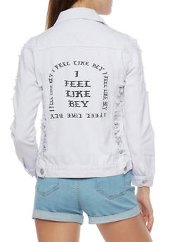 Graphic Destroyed Denim Jacket - 1075063403778