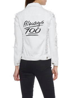 Long Sleeve Ripped White Denim Jacket with Graphic Text - 1075063403786